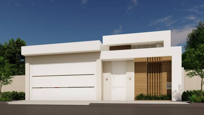 uma casa toda branca muito bonita onde se vê claramente o uso da platibanda, ideal para entradas de casas clean e minimalistas