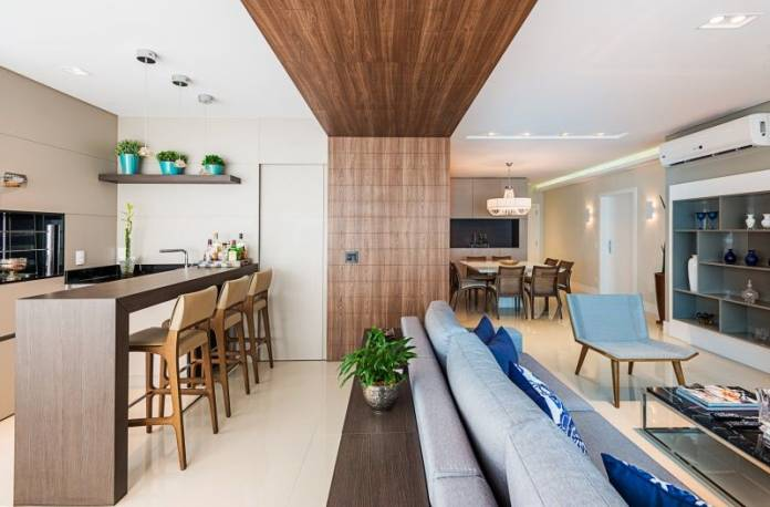 o revestimento ajudou a compor a decoração da parede da cozinha