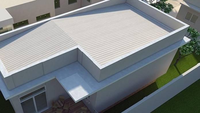 telhado embutido feito em propileno, todo branquinho muito bonito, esse telhado é muito interessante por oferecer essa liberdade de uso de materiais sem medo de ficar feio, pois não aparece
